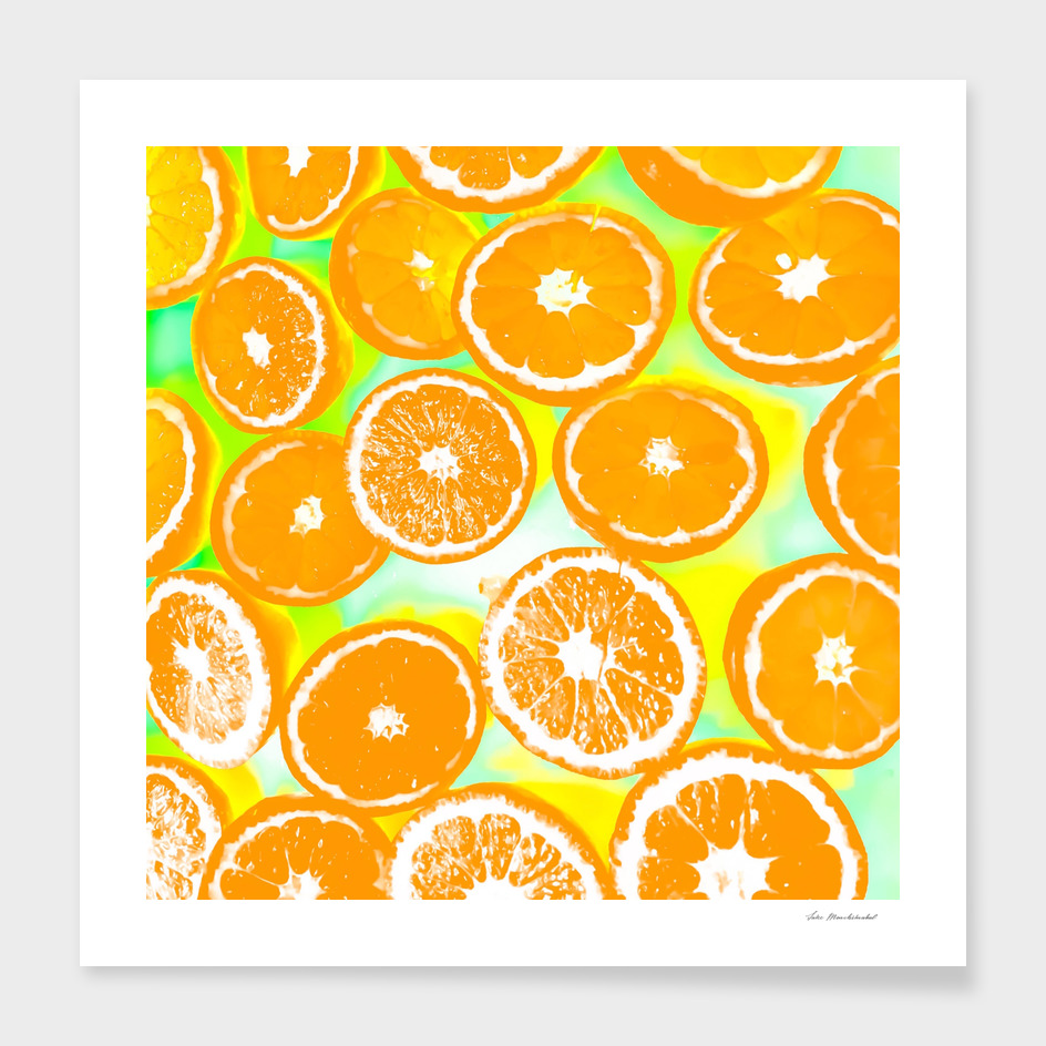 juicy orange pattern with green and yellow background