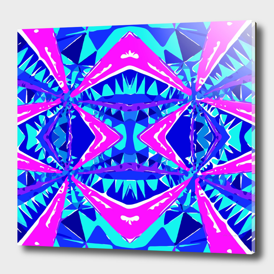 geometric triangle symmetry art pattern abstract in blue