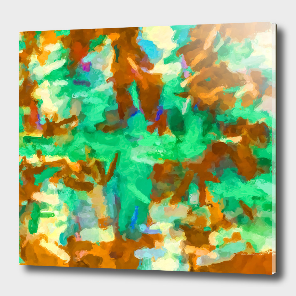 splash painting texture abstract in green brown yellow