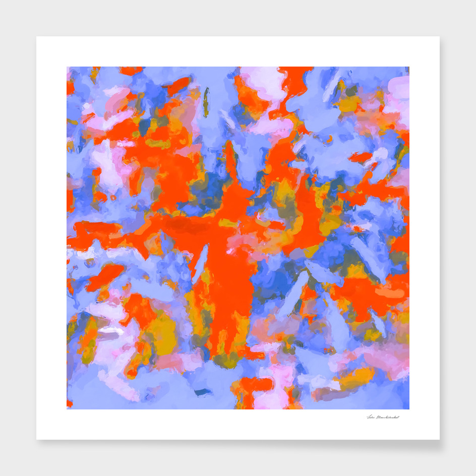 splash painting texture abstract in orange and blue