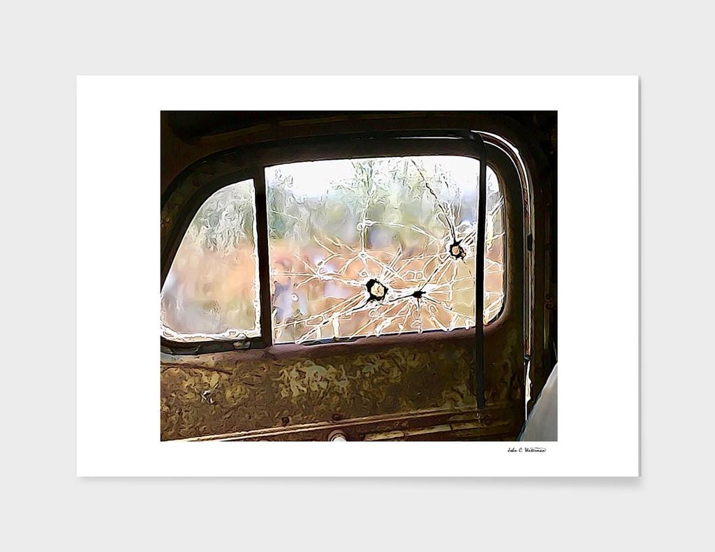 Bullet holes in truck