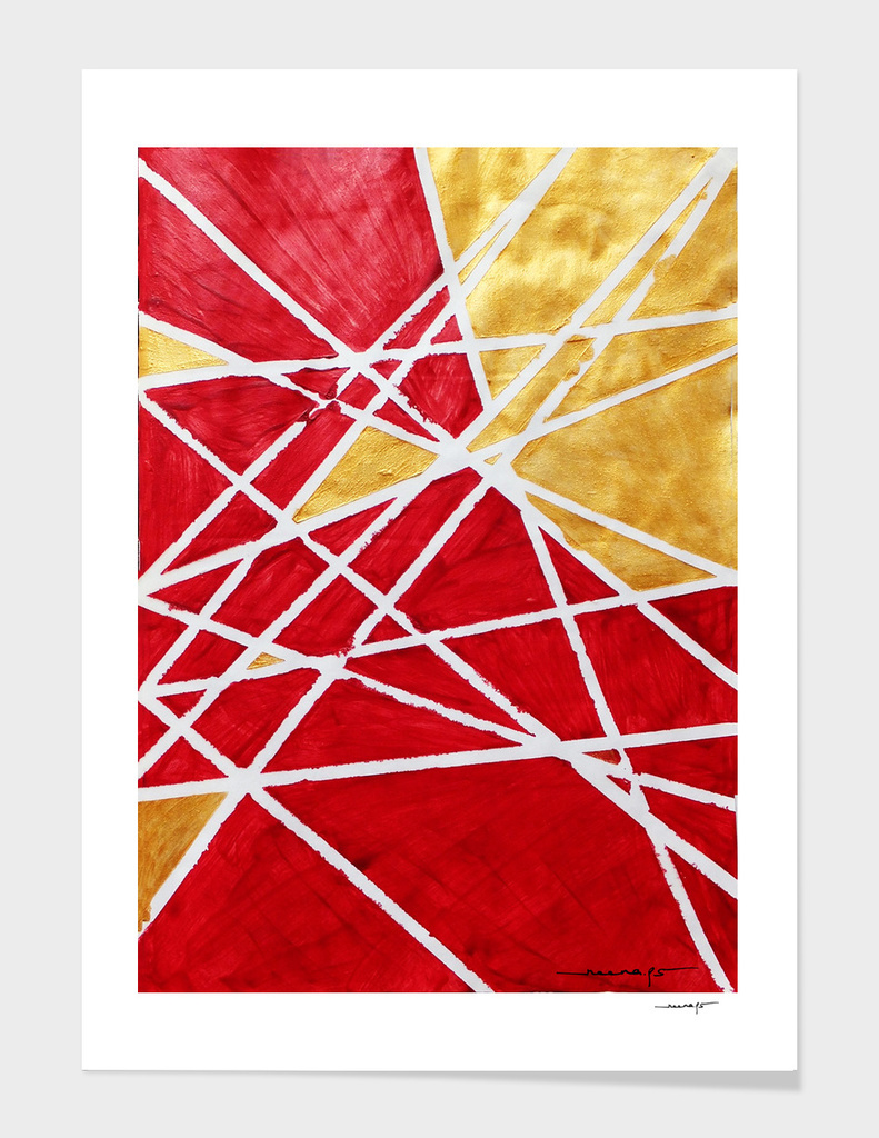 Golden Red Abstract Geometric Art (#1)