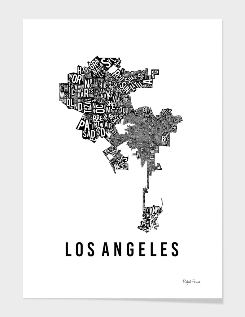 LOS ANGELES TYPOGRAPHIC MAP
