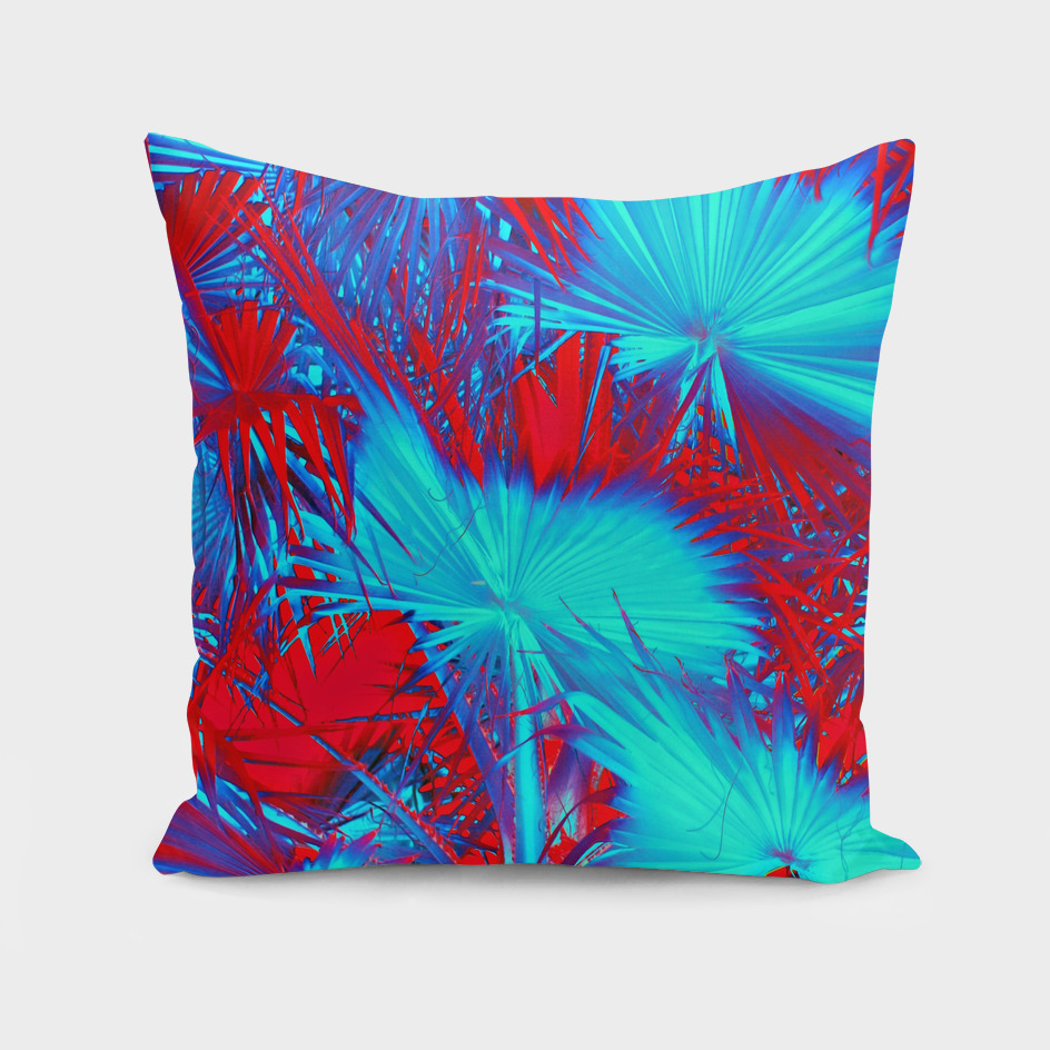 palm leaf texture abstract in red and blue