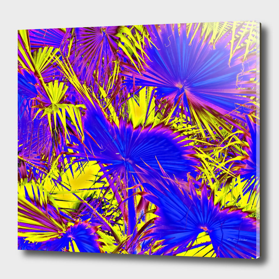 palm leaf texture abstract in blue and yellow