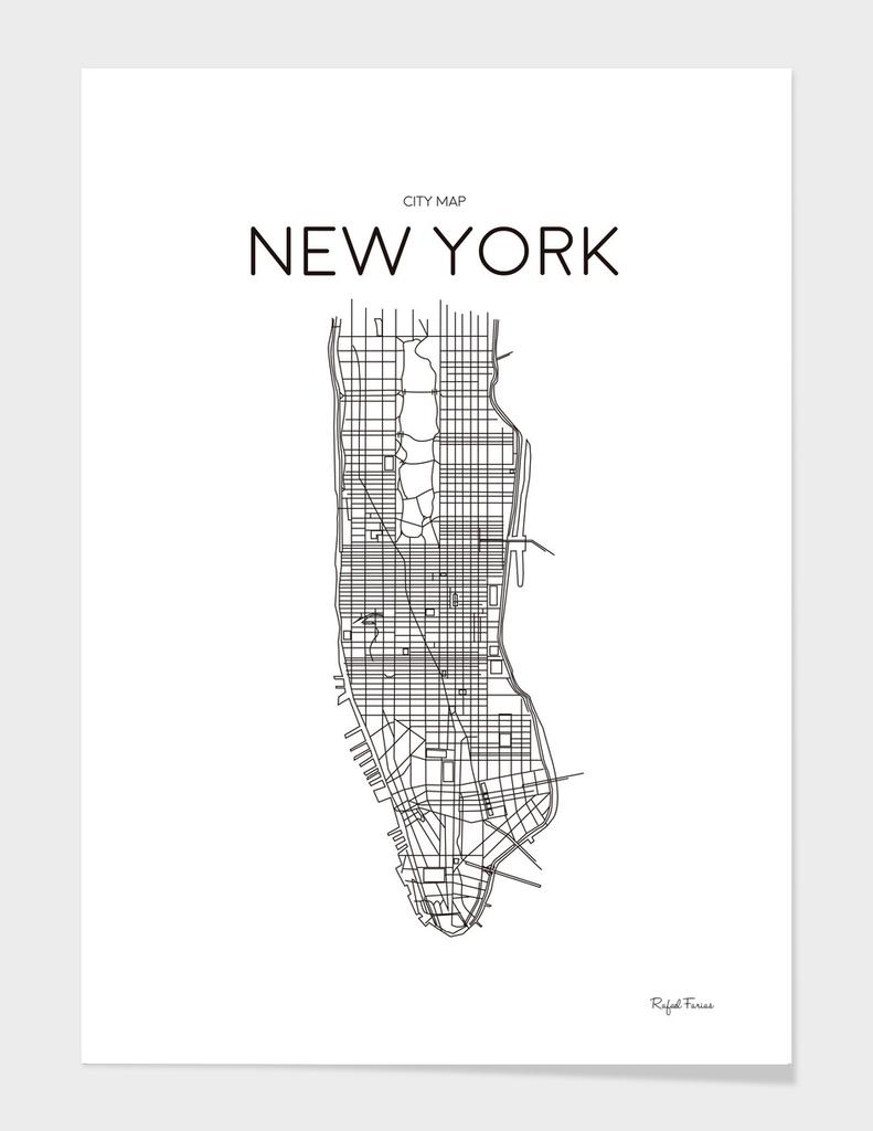 NEW YORK MINIMALIST MAP WHITE
