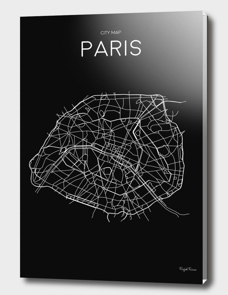 PARIS MINIMALIST MAP BLACK