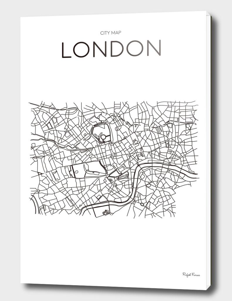 LONDON MINIMALIST MAP WHITE