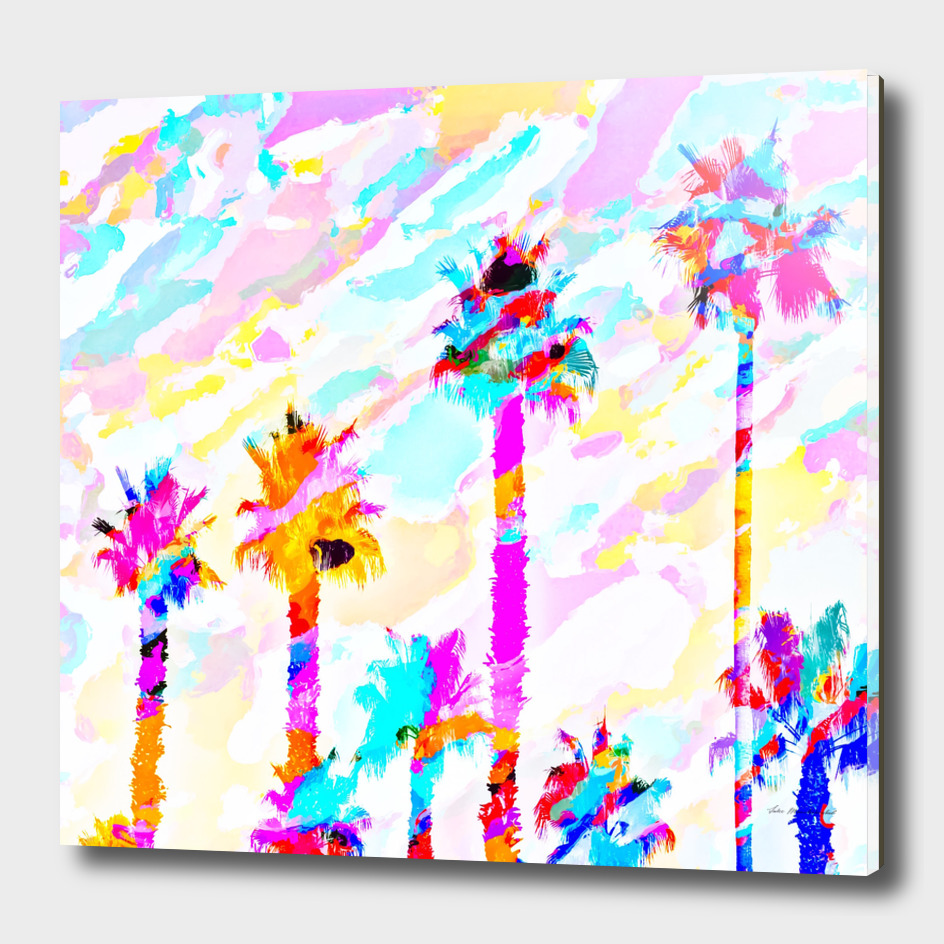 palm tree with colorful painting texture abstract