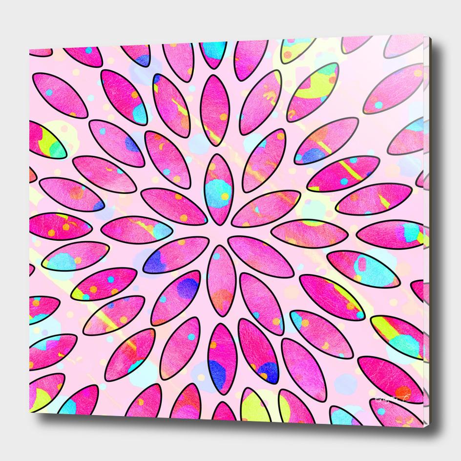 Pop Pink Splash Flower Leaves Pattern