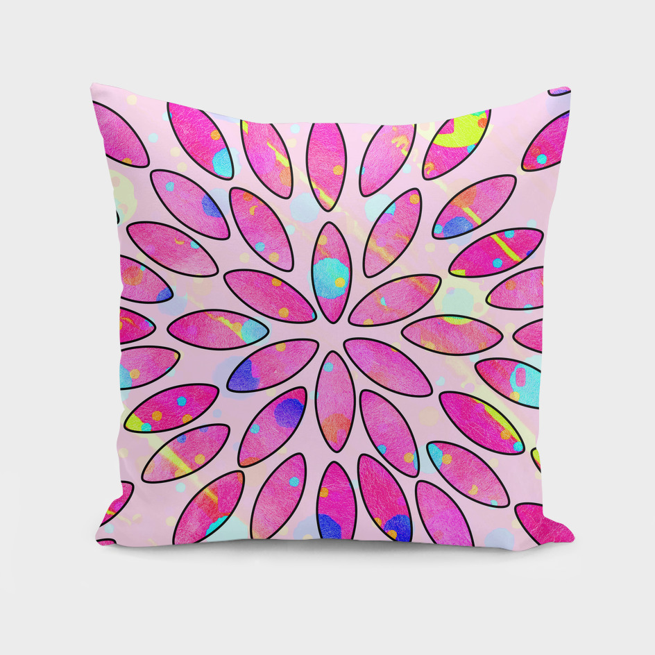 Pop Pink Splash Flower Leaves Pattern