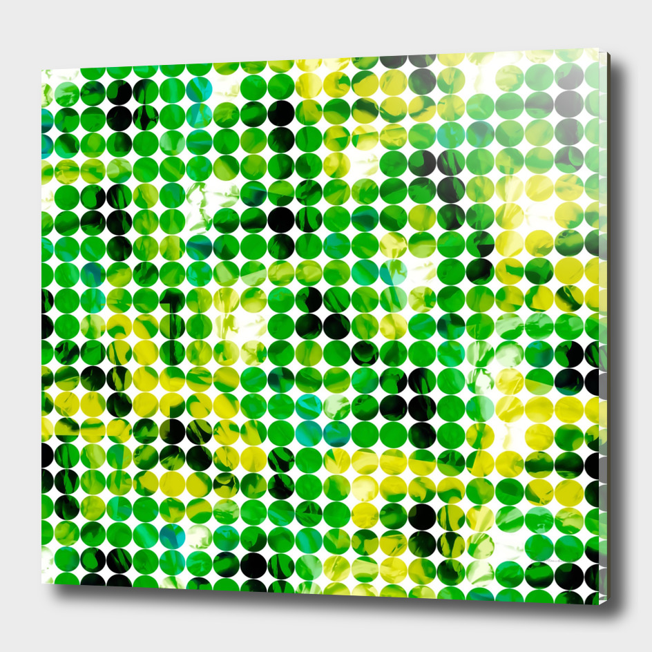 geometric circle pattern abstract in green and yellow