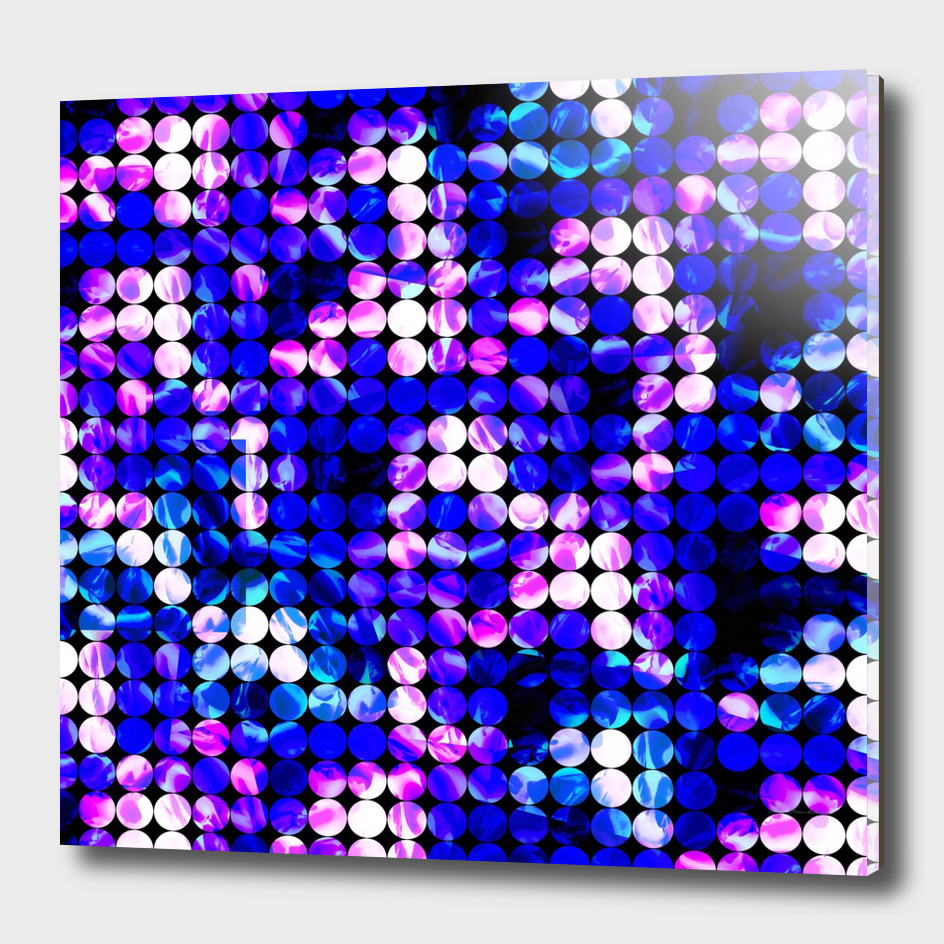geometric circle pattern abstract in blue and pink