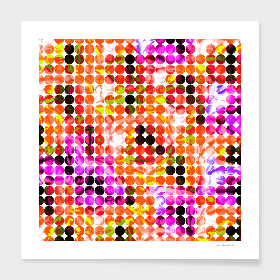 geometric circle pattern abstract in orange pink green