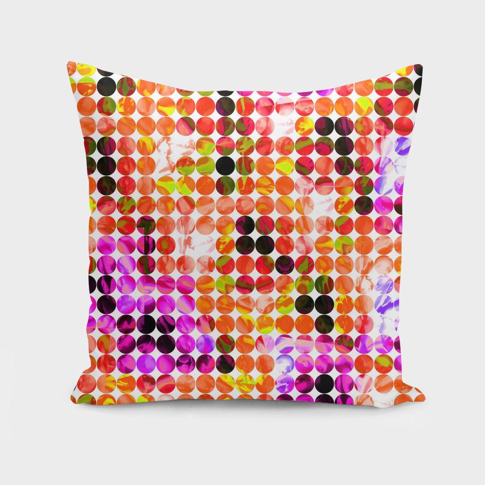 geometric circle pattern abstract in orange pink green
