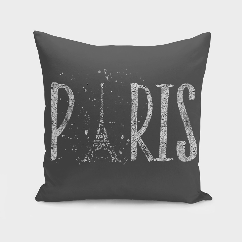 PARIS Typography | grey | silver splashes