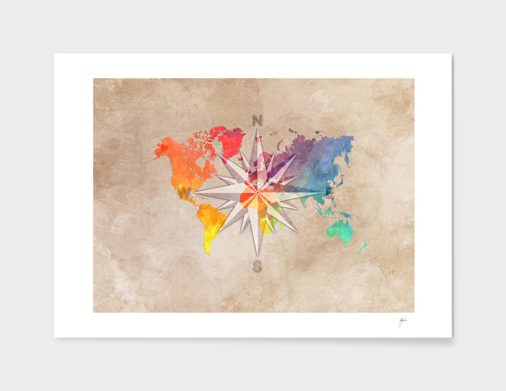 world map wind rose 1