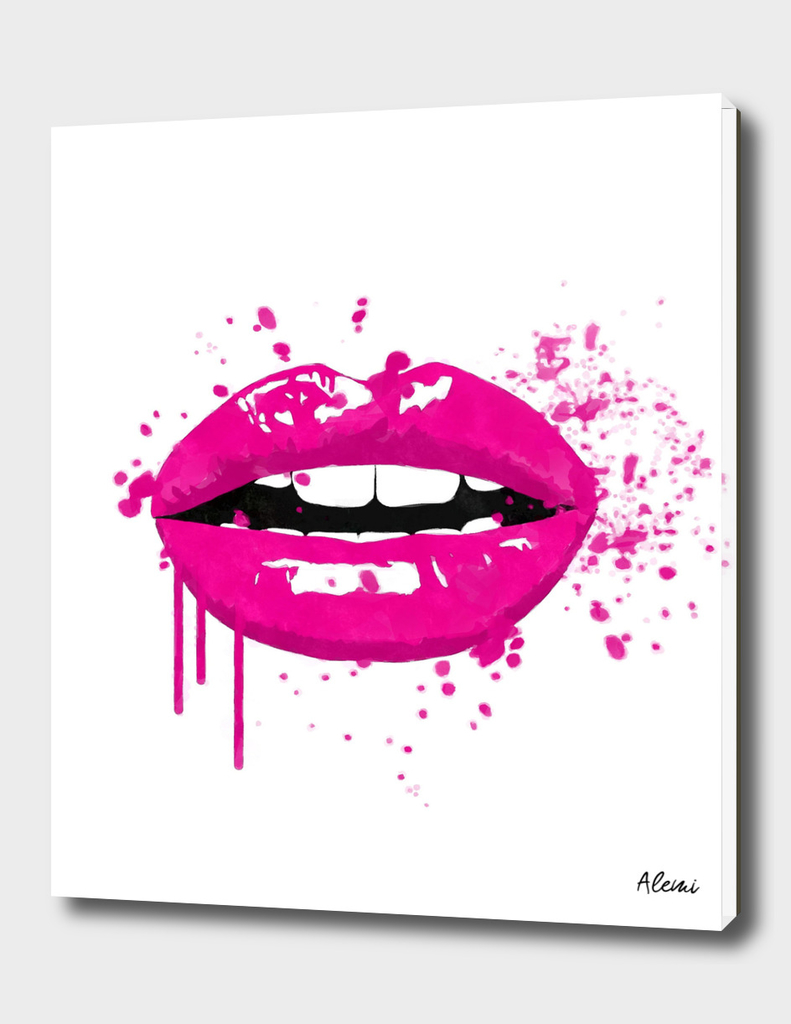 Pink Lips Fashion Illustration