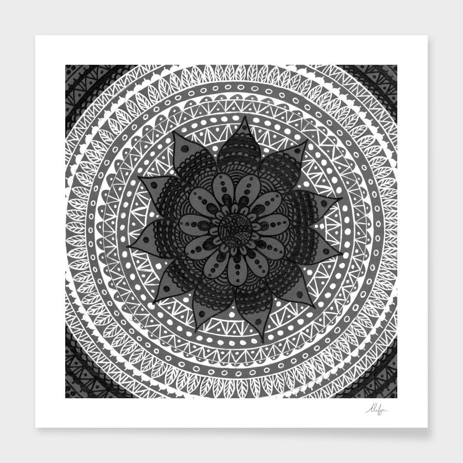 Grey and White Pattern Mandala