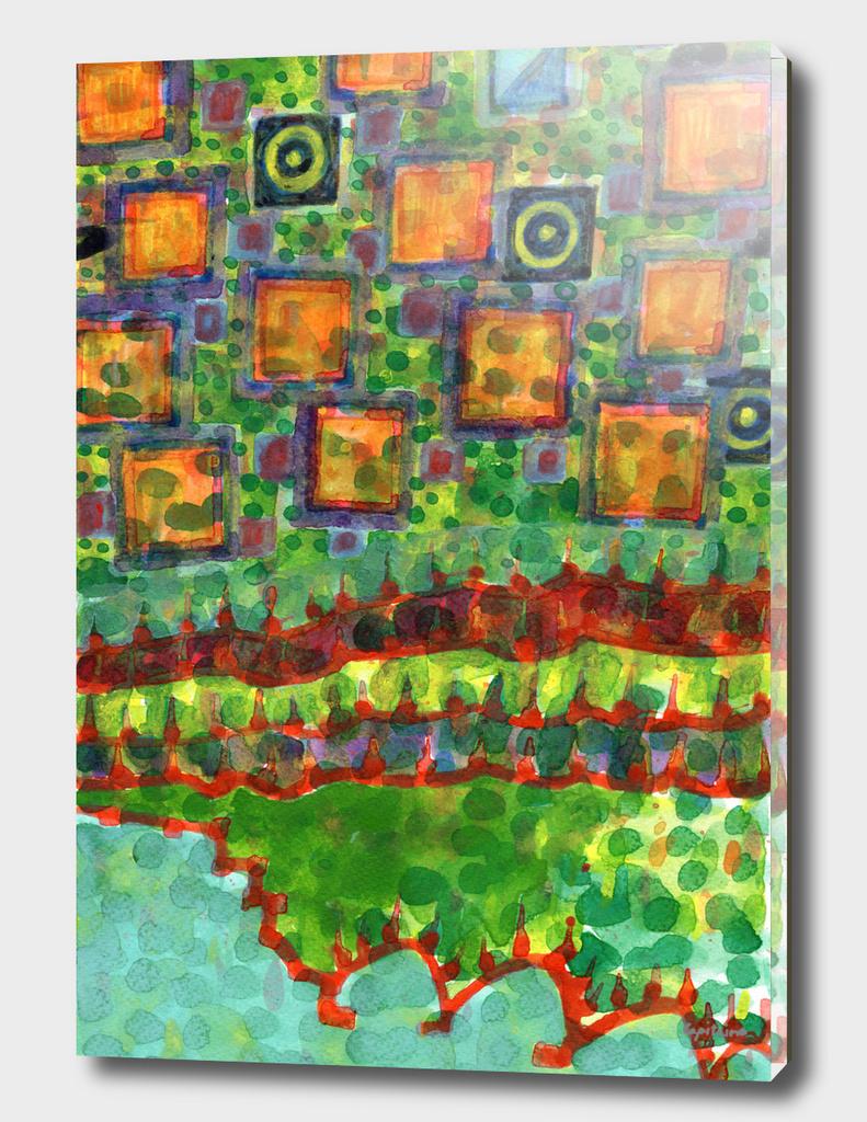 Flying Lighted Squares over Landscape