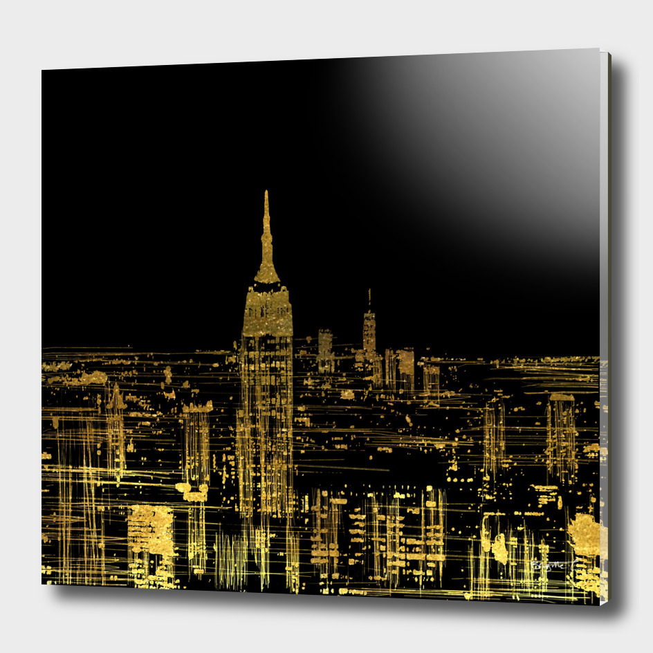Abstract Gold City Skyline Design