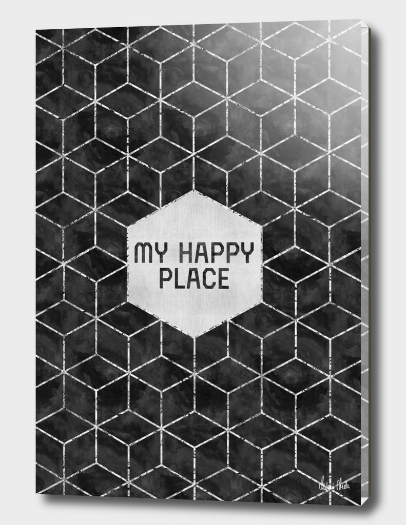GRAPHIC ART SILVER My happy place | black