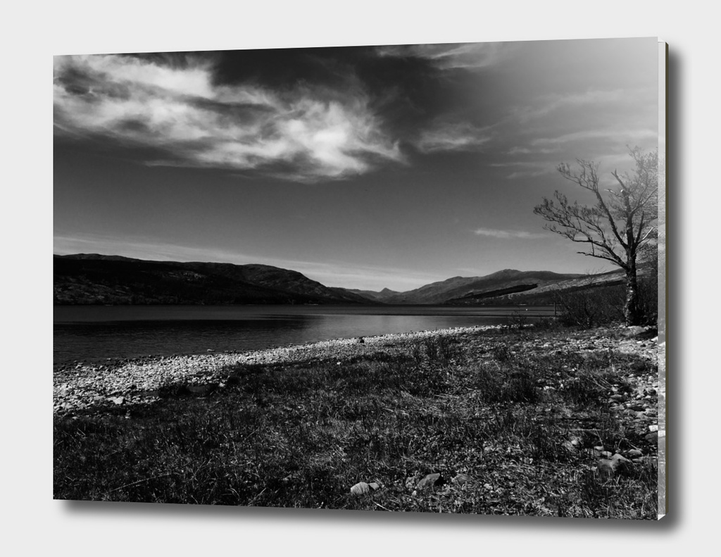 View over Loch Arkaig - bw
