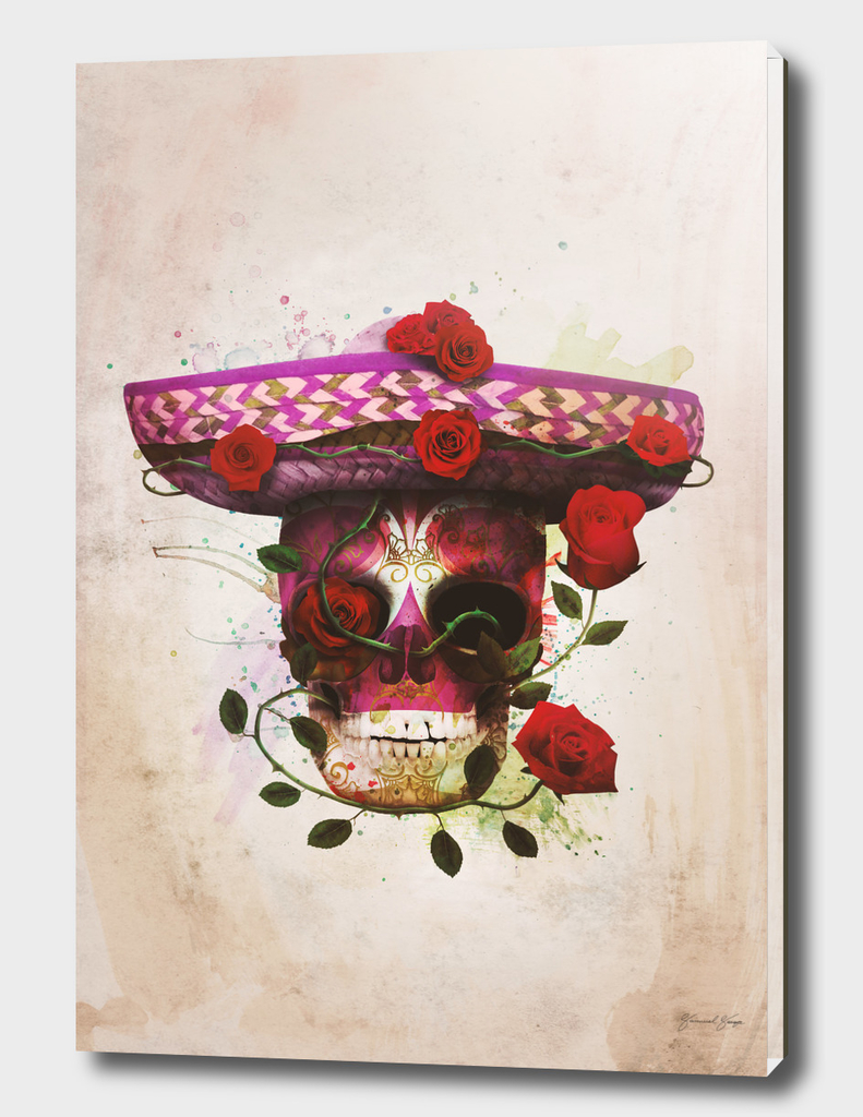 Mexican Skull with roses