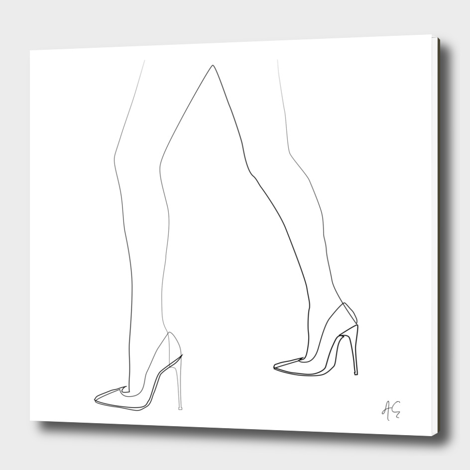 Minimal One Line Woman's Feet
