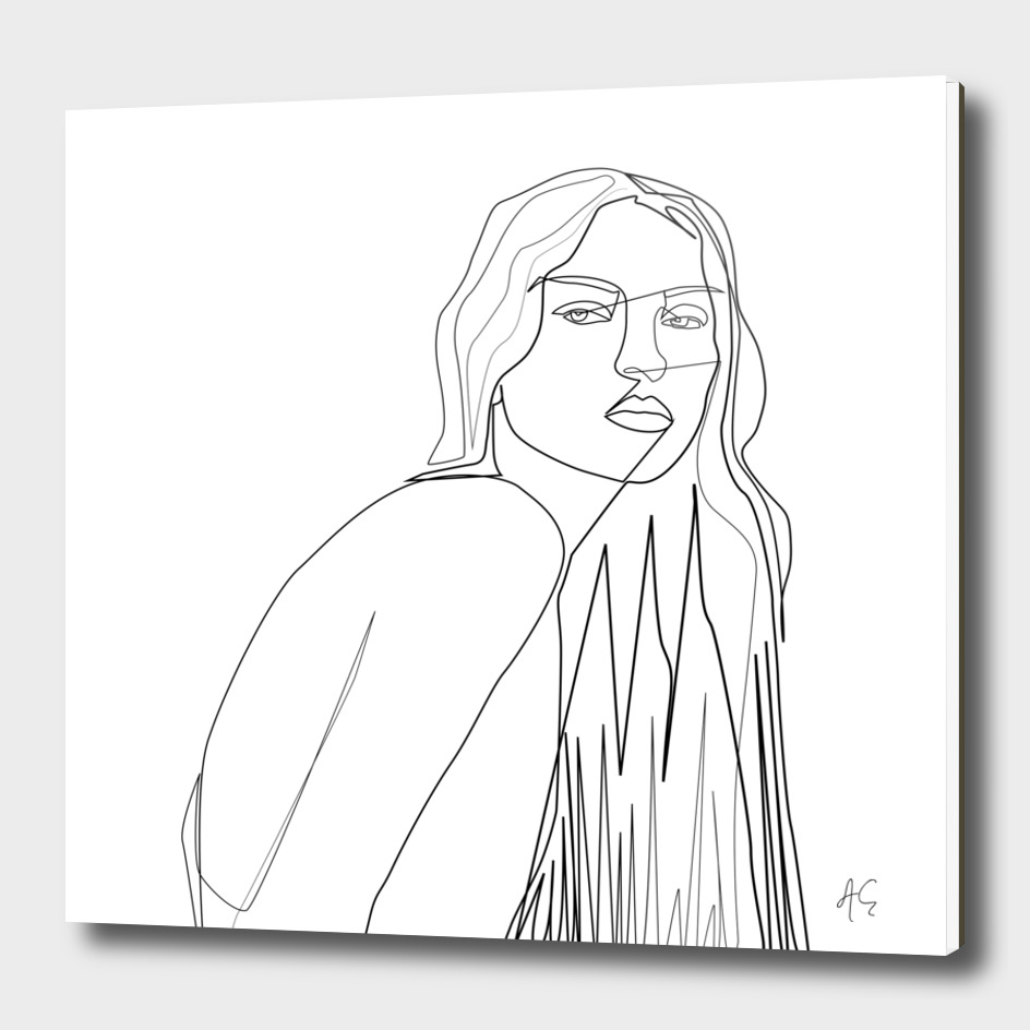 Minimal One Line Innocent Woman Figure