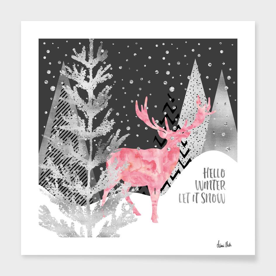 GRAPHIC ART SILVER Hello winter let it snow