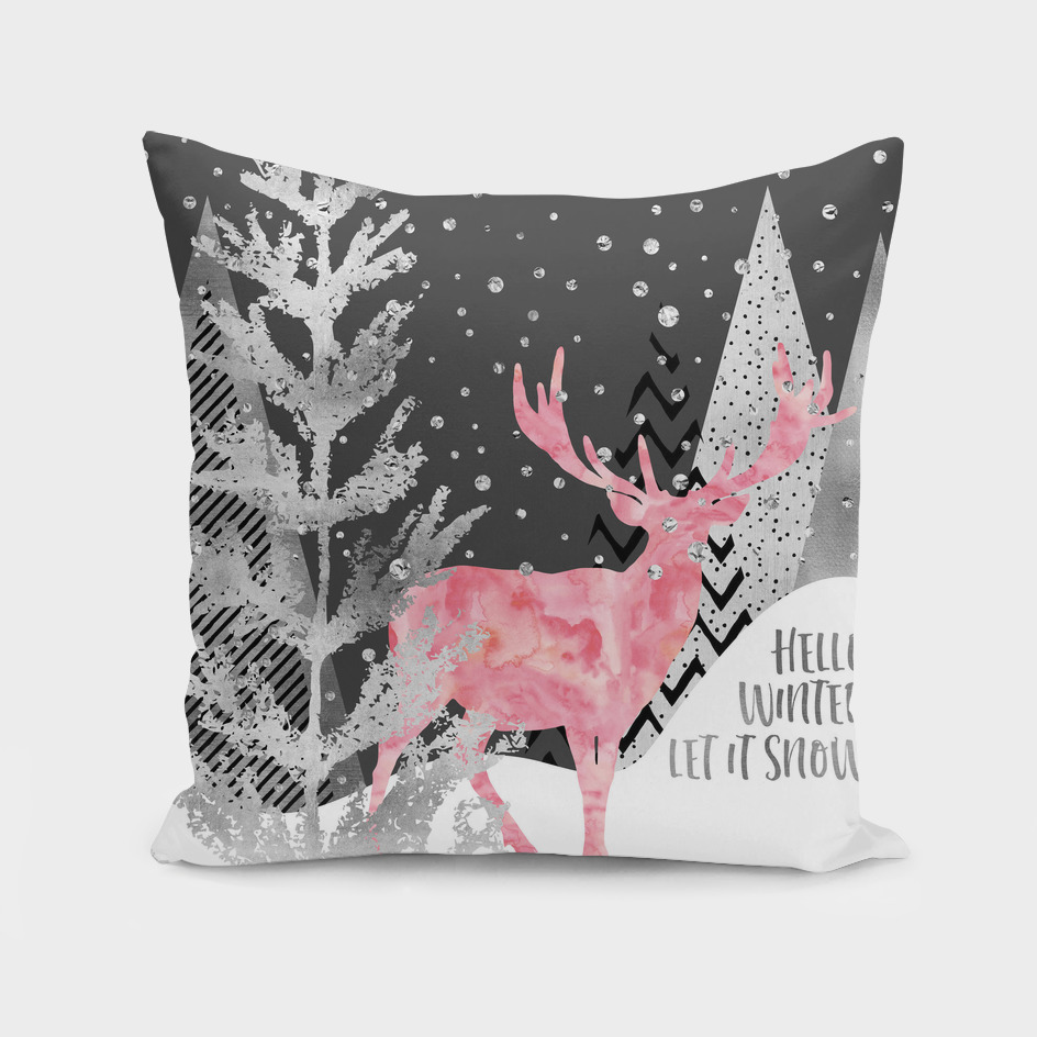 GRAPHIC ART SILVER Hello winter let it snow