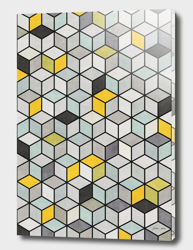 Colorful Hexagon Concrete Cubes - Yellow, Blue, Grey