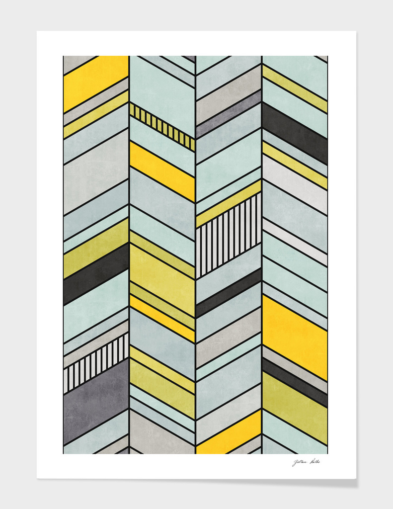 Abstract Chevron Pattern - Yellow, Blue, Grey