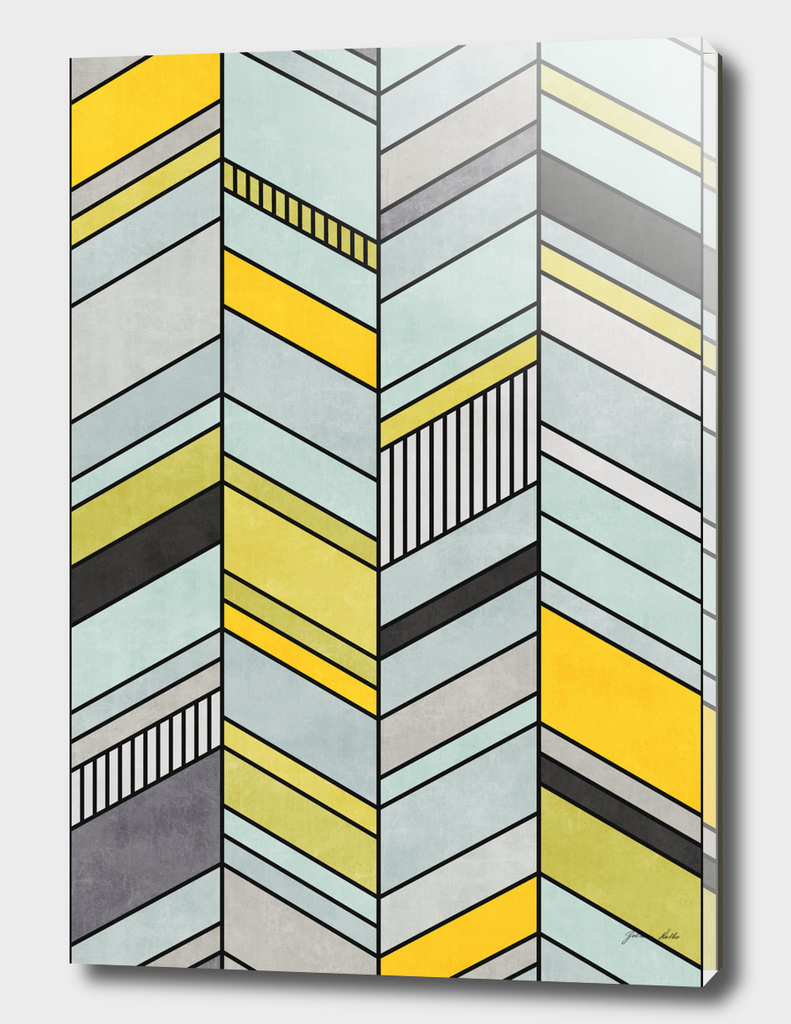 Abstract Chevron Pattern - Yellow, Blue, Grey