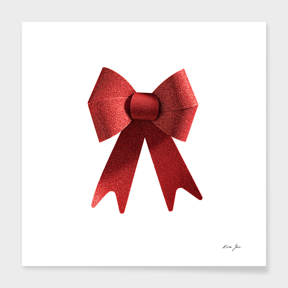 Isolated Big Red Christmas Shiny Bow