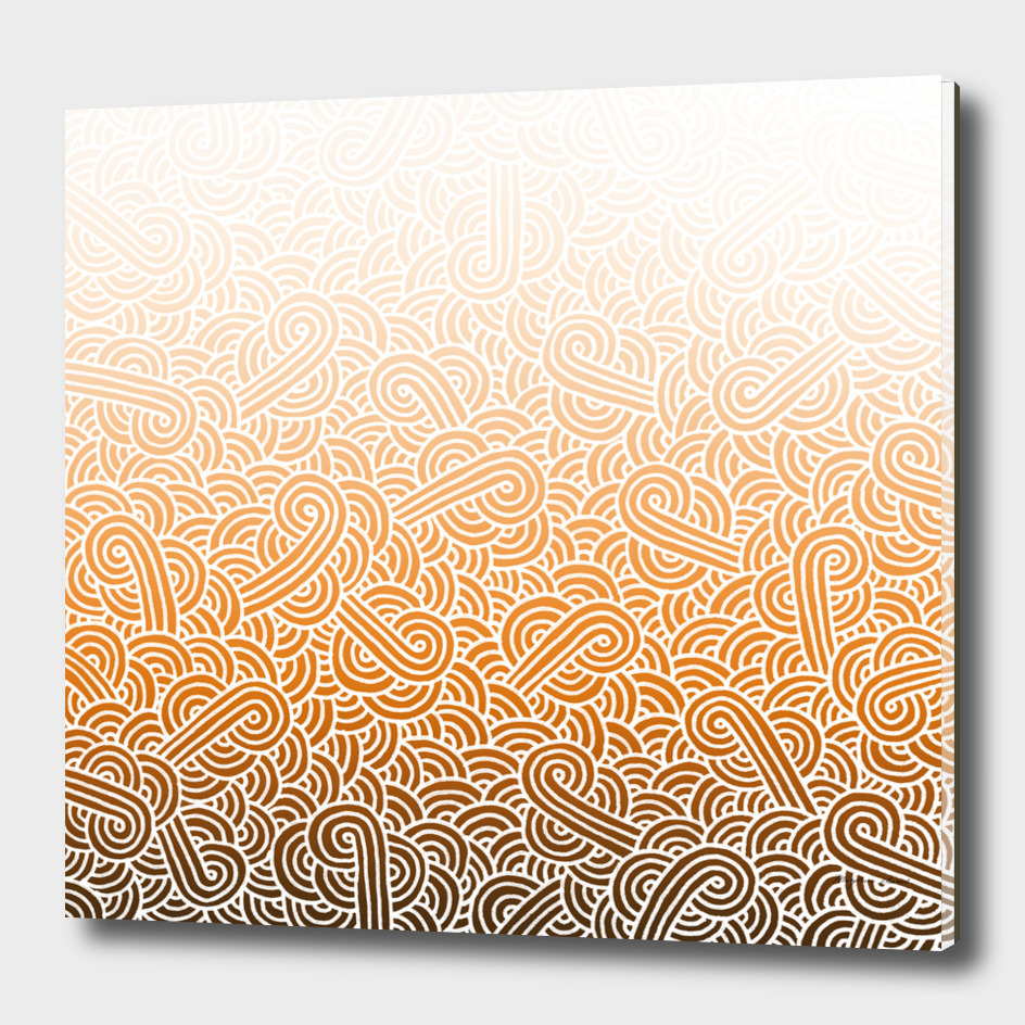 Ombré orange and white swirls doodles