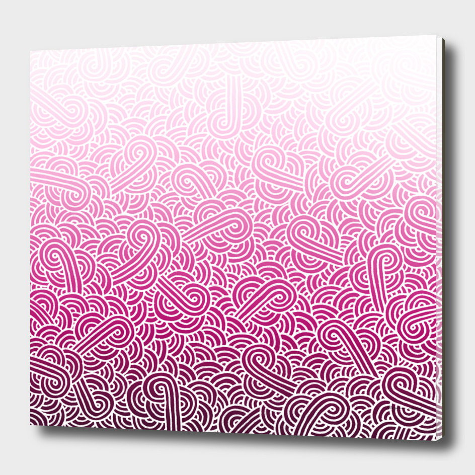Ombré pink and white swirls doodles