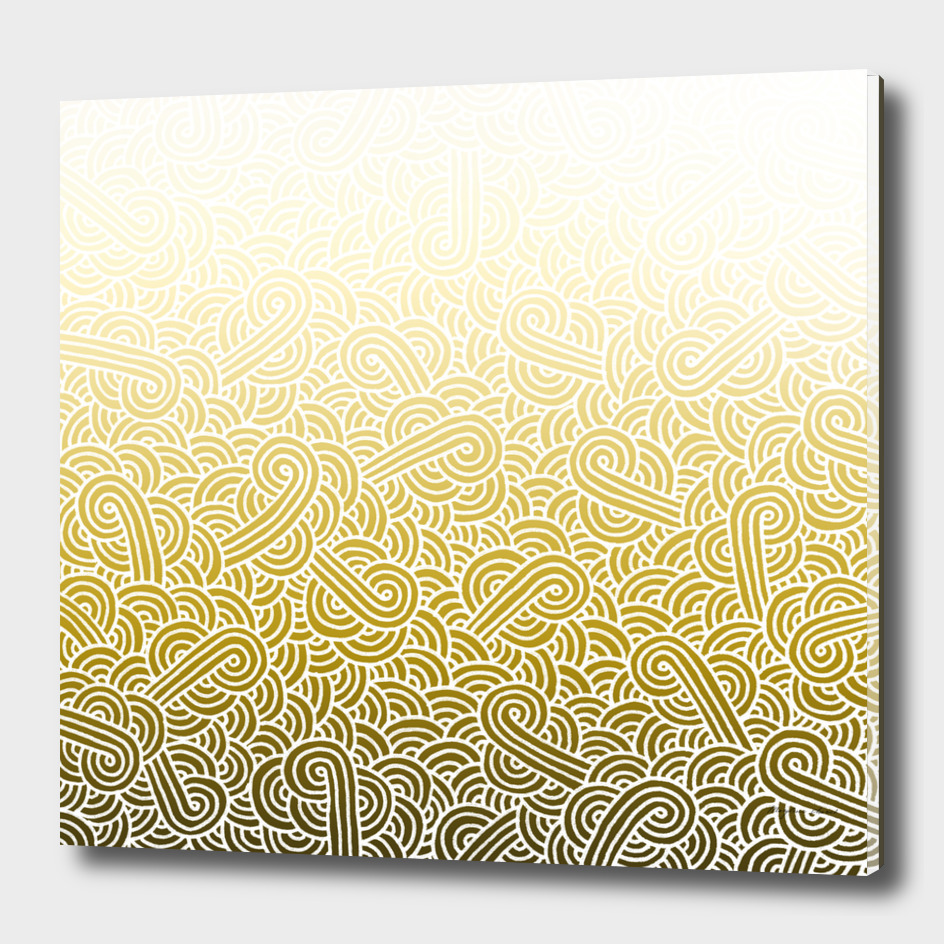 Ombré yellow and white swirls doodles