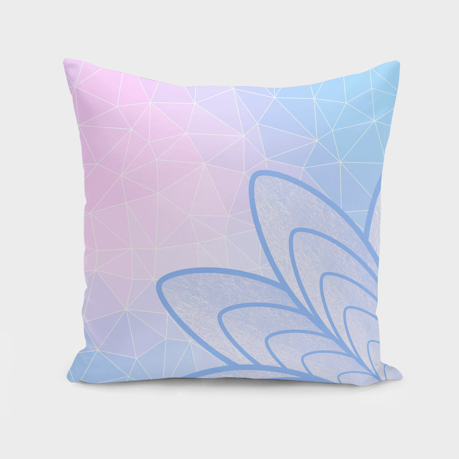 Flower on Pastel Pink and Blue Geometric Pattern