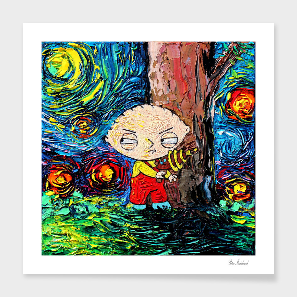 Family Guy Art Stewie Cartoon Starry Night vincent van gogh