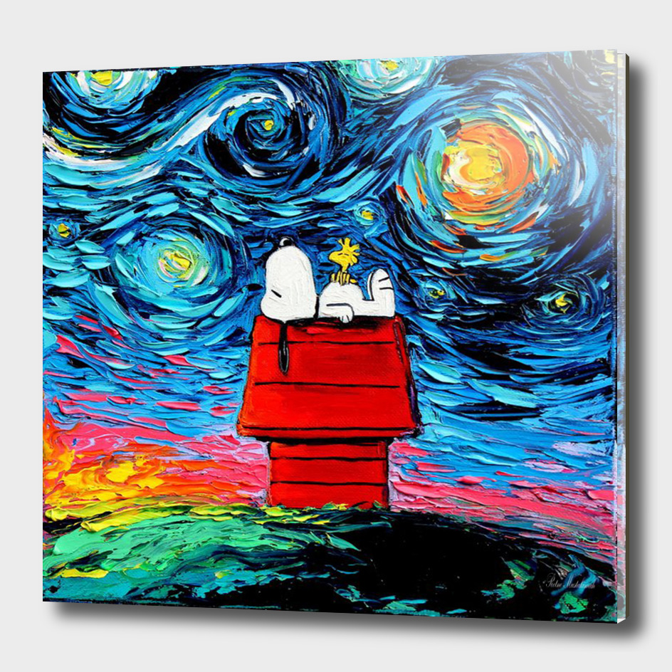 Painting Snoopy Stary night Vincent Van Gogh