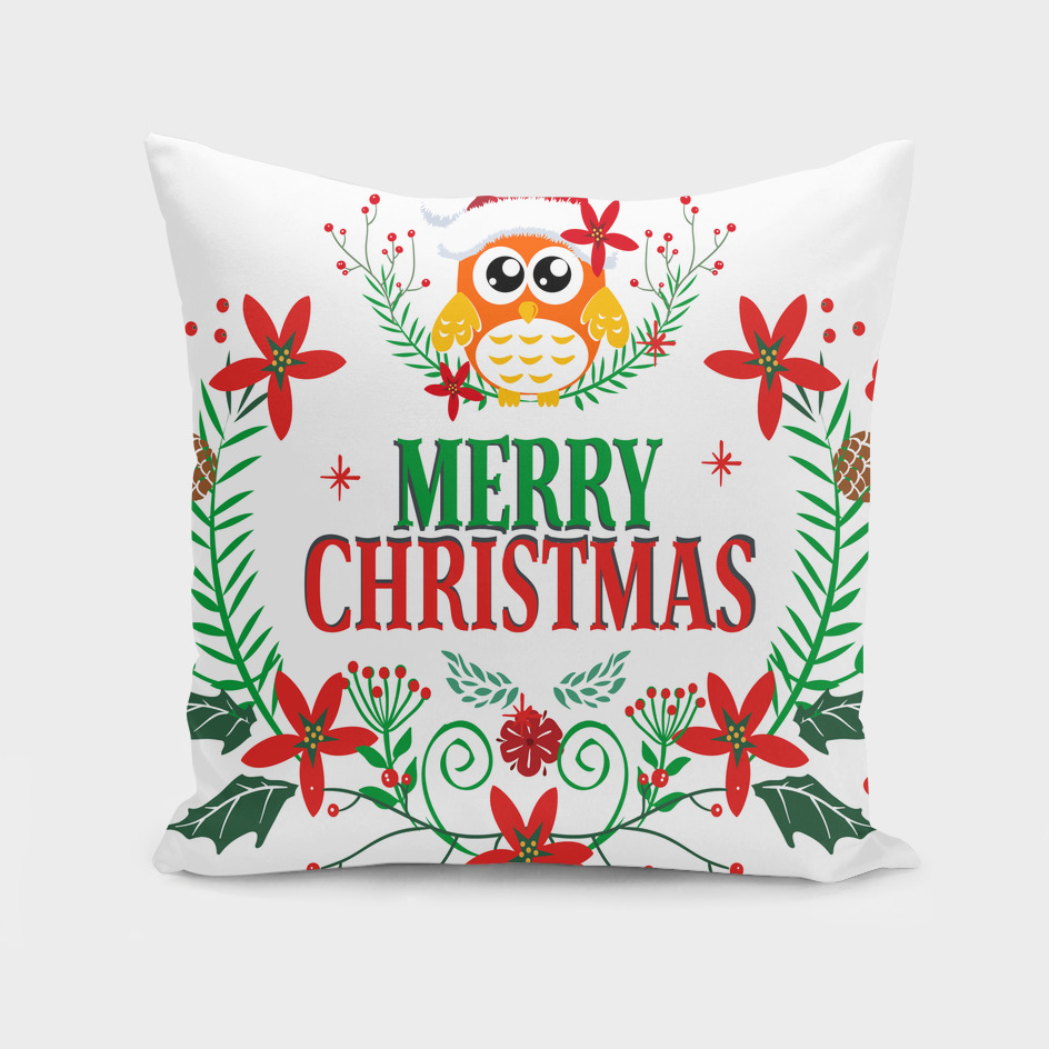 Merry Christmas Typography Christmas Owl Wreath