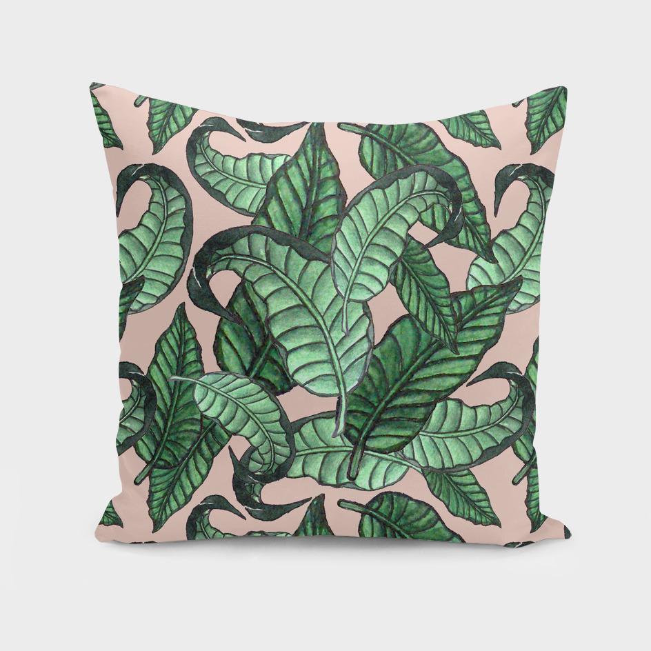 Leaves watercolor pattern n.1 in pink
