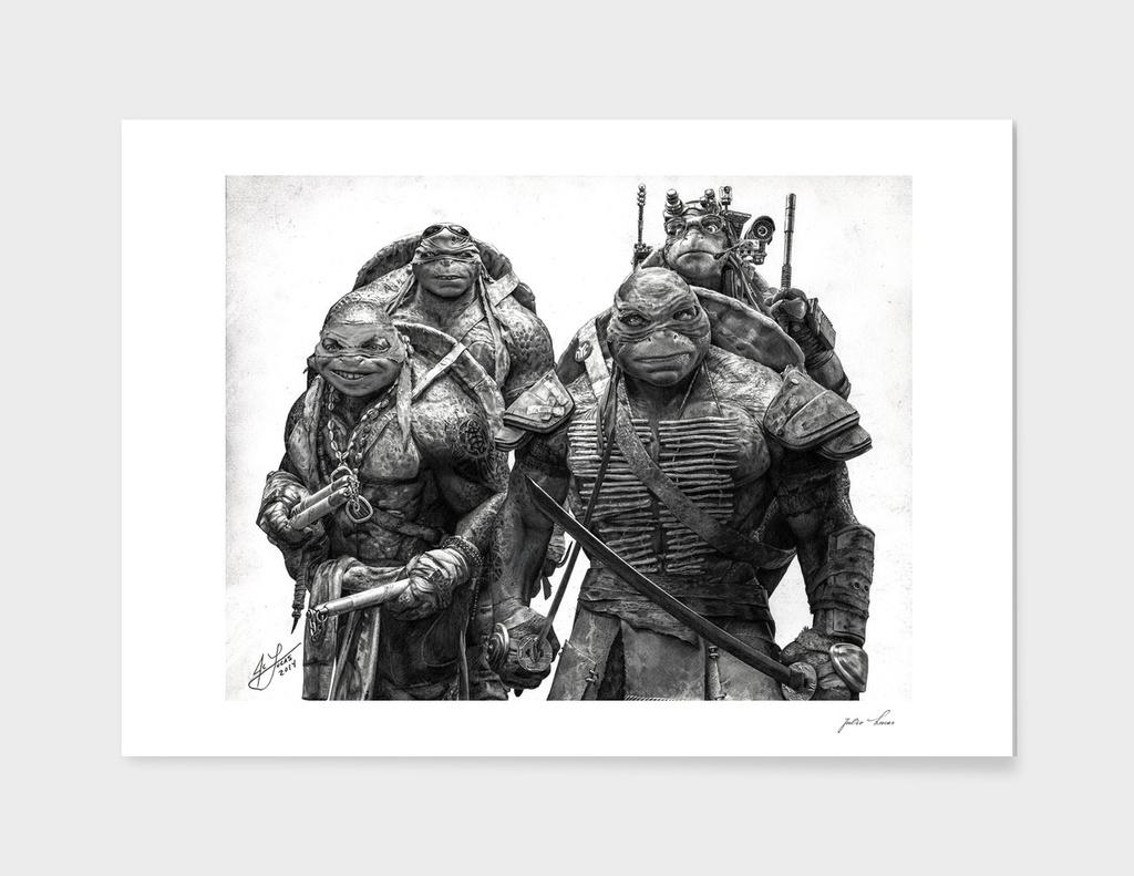 Graphite Pencil Portrait of the Teenage Mutant Ninja Turtles