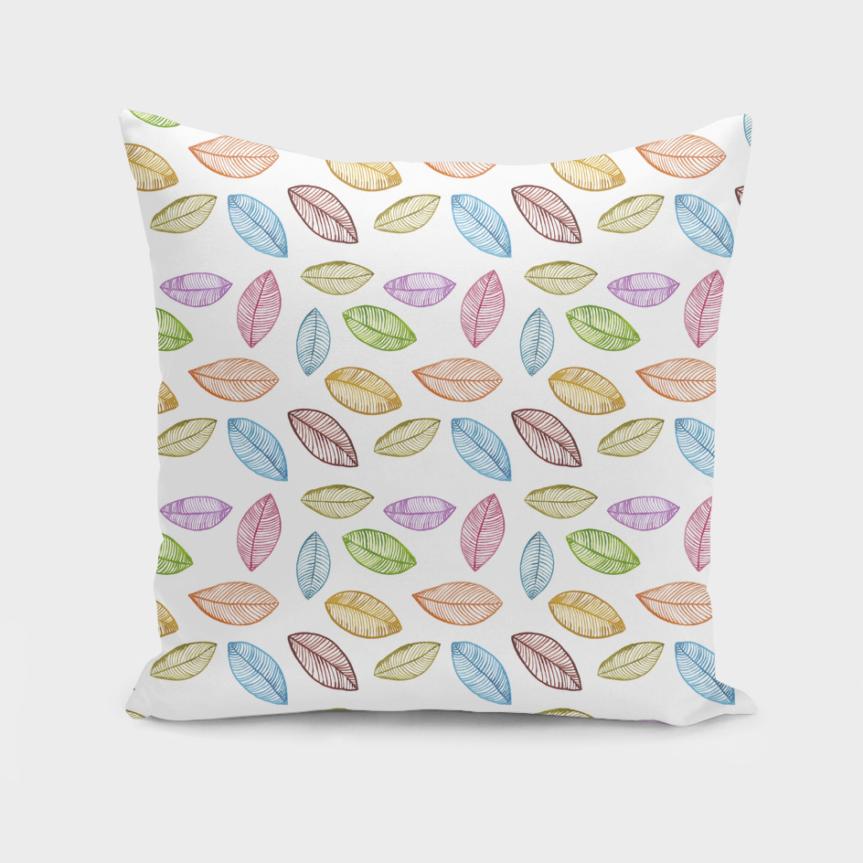 Watercolor multicolored leaves on white background