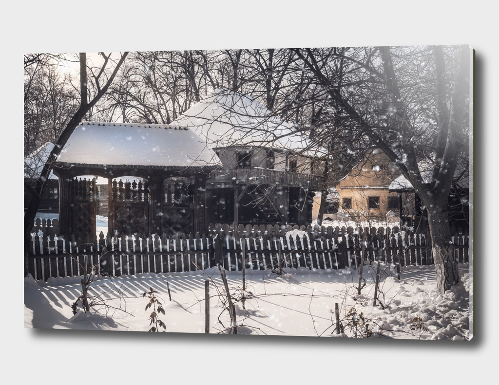 Snowfall in an old Romanian Village