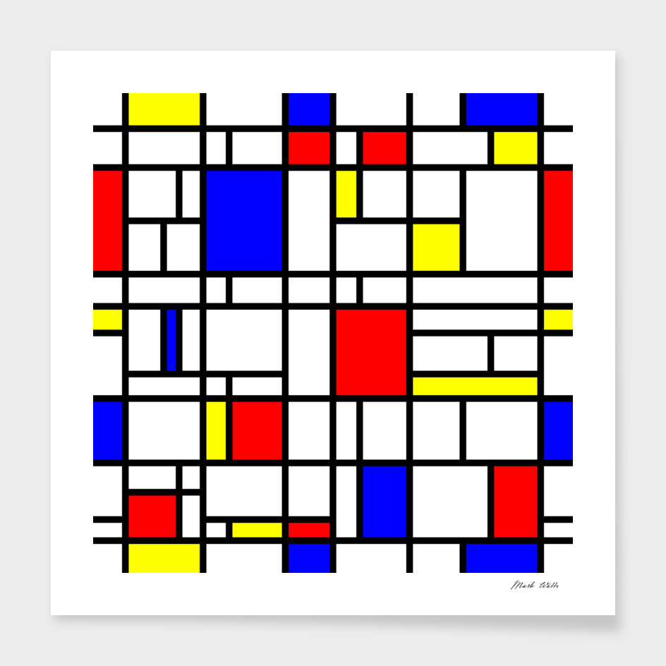 Modern Art Red Yellow Blue Grid Pattern