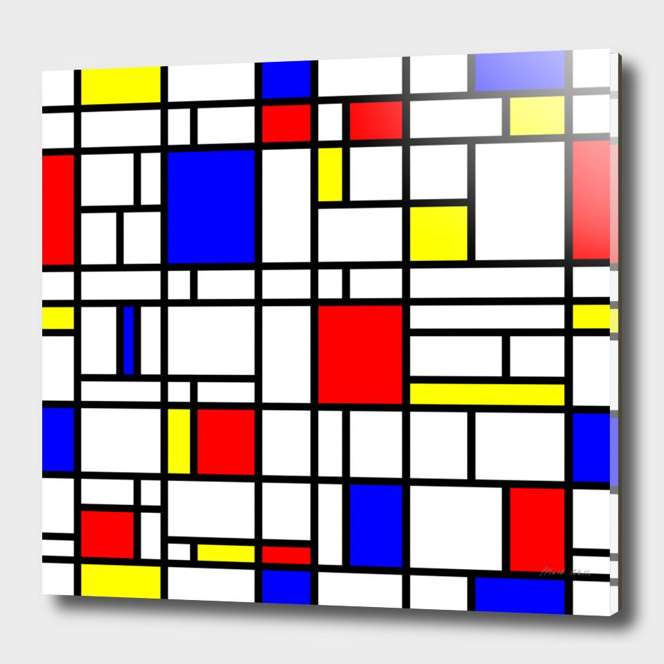 Modern Art Red Yellow Blue Grid Pattern