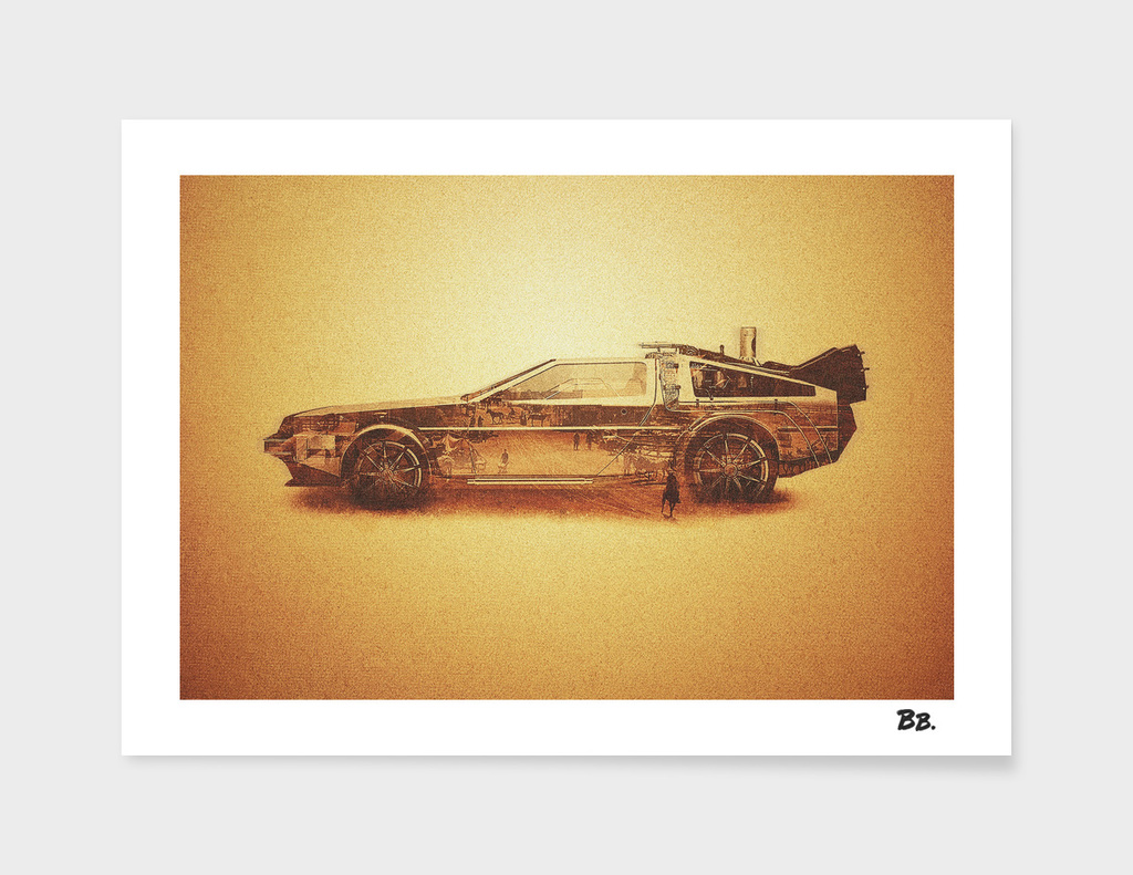 Lost in the Wild Wild West -  Delorean Doubleexposure Art